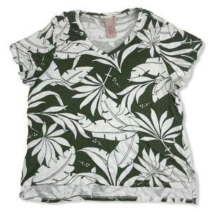 Philosophy White Green S/S T-Shirt Foliage Leaves
